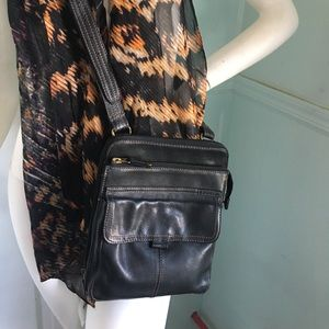 Handbags - Fossil Leather Crossbody Bag various compartments
